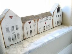 Vintage Wooden House Blocks by lovintagefinds Driving Home For Christmas, Christmas Home, Little White House, Little Houses, Ceramic Houses, Wooden Houses, Small Wooden House, House Ornaments, Pintura Country