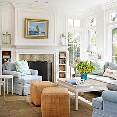 Breezy, Natural and Casual family room! I love all that natural light!