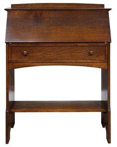 Arts and Crafts | Craftsman | Bungalow | L & JG Stickley slant front desk, executed in quartersawn oak | c.1916