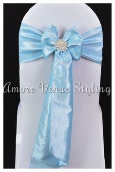 #wedding #sash #taffeta #blue #babyblue #crystal #brooch