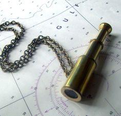 I Spy. Navigator Nautical Steampunk Functional Telescope Spyglass Necklace Unisex. $36.00, via Etsy.