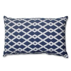 Add the perfect blend of style and comfort to any space in your home with this rectangular blue and off-white geometric throw pillow from Pillow Perfect. Knife edging adds the finishing touch to this wonderful decorative pillow.