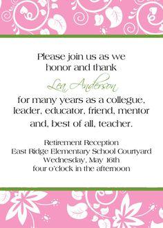 16 Best Teacher Retirement Party Invitations Images On Pinterest
