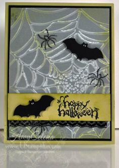 The Sizzix Spiderweb embossing folder is one of the cooler embossing folders this season! I embossed the web on vellum cardstock paper overlayed on black… and it looks properly 'spooky'! The bats are the new 'Bitty Bats' Jumbo punch with little white 'eyes' added. The overall effect is cool for a very quick little Halloween …