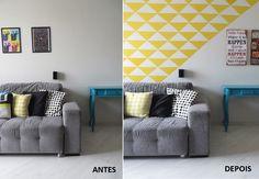 Como fazer papel de parede com contact antes e depois