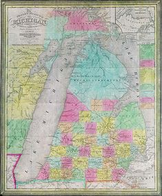 "On January 26, 1837, Michigan was admitted as the 26th state in the Union. The name Michigan is a form of the Ojibwa word ""mishigamaa,"" meaning ""large water"" or ""large lake."" There are 64,980 inland lakes & ponds scattered throughout the state. A person in MI is never more than 6miles from a natural water source or more than 85miles from a Great Lakes shoreline! The map is a travel map from 1839, around the time of statehood. Click it to browse more digital delights at seekingmichigan.org"