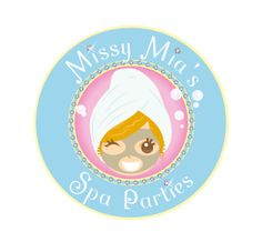 cute circular logo design for Missy Mia's Spa Parties - baby blue and pink - diamonds - bling bling - Best Logo Design, Branding Design, Best Logo Maker, Spa Logo, Kids Spa, Circular Logo, Pink Diamonds, Round Logo, Round Design