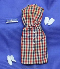 <0>Mod Barbie Japanese Exclusive #20022604 Red, White & Blue Checked Dress & Extras