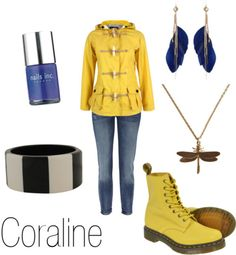 From Coraline. I'm loving the quirky-ness of the outfit. Casual Cosplay, Cosplay Outfits, Quirky Fashion, Love Fashion, Geek Fashion, Coraline Costume, Coraline Jones, Themed Outfits, Inspired Outfits