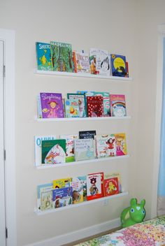 The book shelves are actually picture ledges from IKEA, $15 each. Would be a great way to display art books!