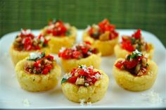 Polenta Cups with Sweet Peppers. Polenta Cups with Sweet Peppers Manchego and Almonds Fall Appetizers, Appetizer Recipes, Appetizer Ideas, Muffin Tin Recipes, Hors D'oeuvres, Stuffed Sweet Peppers, Side Recipes, Finger Foods, Cooking Recipes
