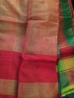 A124- Green And Red Gandharva Checks Saree by NainaSilks on Etsy