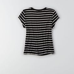 AEO Soft & Sexy Tomgirl T-Shirt ($7.98) ❤ liked on Polyvore featuring tops, t-shirts, striped crew neck tee, sexy tops, banded waist tops, striped top and striped crew neck t shirt