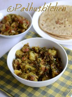 Aloo Methi Sabzi-Potato with fenugreek leaves-delicious side dish for roti