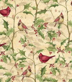 Susan Winget Cotton Print Fabric - Cardinal on Vines Christmas Decoupage, Christmas Fabric, Christmas Crafts, Merry Christmas, Christmas Printables, Christmas Wreaths, Vine And Branches, Festive Crafts, Christmas Scrapbook