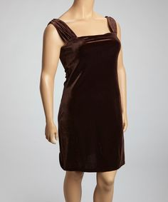 Take a look at this SHE Brown Velvet Ruched Shift Dress - Plus on zulily today! Type 3 plus size dress