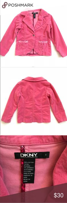 DKNY girls pink velour jacket NWOT •DKNY single button pink blazer jacket with front pockets — super cute!! •New without tags  - NWIT •Size 6 •98% Cotton, 2% Spandex   •I am a: Posh Ambassador, top 10% seller, top rated seller, Posh mentor & ship same day/next day!  ⭐️❤️FREE Matching hair accessory with purchase!❤️⭐️ •Comes from smoke & pet free home •Browse my closet for dozen of amazing designers such as.. tucker + Tate, Tea Collection, Mini Boden, UGG, GAP, Juicy Couture, Lululemon & many…