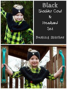 Crochet this Black Shoulder Cowl and Headband Set for a child who loves to go to the playground all year round.  Check out the crochet pattern by Busting Stitches.