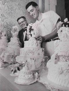 Wedding Cakes, 1953: Arthur Pile Sr. (left) and Arthur Pile Jr. (right) admire Hough Bakeries wedding cakes in 1953.