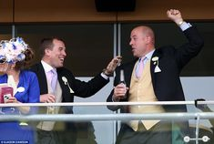 Result! Peter Phillips celebrates a winner in the Coventry Stakes - the horse, Buratino, i...