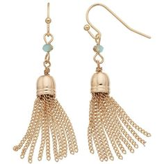 LC Lauren Conrad Tassel Drop Earrings (14 AUD) ❤ liked on Polyvore featuring jewelry, earrings, blue, beaded drop earrings, blue earrings, blue tassel earrings, blue jewelry and earrings jewelry