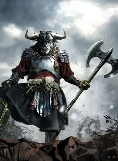 ArtStation - Minotaur, David Benzal - W. Fantasy Races, Fantasy Armor, Medieval Fantasy, Character Concept, Character Art, Concept Art, Character Design, Dnd Characters, Fantasy Characters