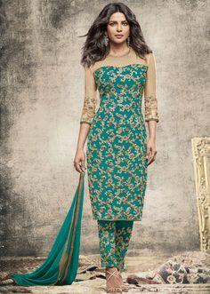 Priyanka Chopra Rama Green and Beige Suit