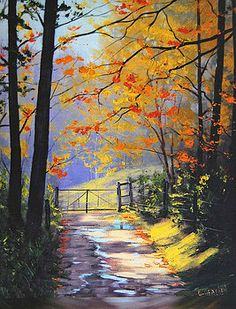 Graham Gercken Artwork Collection: Autumn Paintings and Prints : Graham Gercken - The Gate Watercolor Landscape Paintings, Landscape Art, Watercolor Art, Western Landscape, Lake Painting, Autumn Painting, Contemporary Paintings, Beautiful Paintings, Painting Inspiration