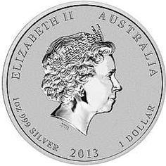 2013 Year of the Snake - Series Two - Australian Silver Lunar Bullion Coin - Obverse Side