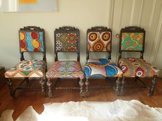 set of four tribal print covered chairs by blanche dlys designs | notonthehighstreet.com