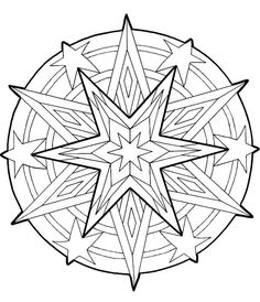 Mandala Star Ornament Coloring Pages