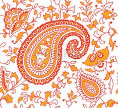 red and orange print for curtains