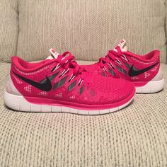 REDUCED FOR PARTY ONLYNike Free 5.0 Nike Free 5.0 in hot pink with white detail & black swoosh. Neon yellow insole = so cute! NEW in box! Nike Shoes Athletic Shoes