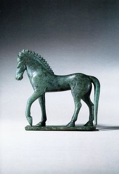 A Magnificent and Highly Important Etruscan Bronze Figure of a Horse Standing Upon an Integral Plinth Bronze, Late Archaic, Late century B. Most probably from Vulci. More equine art & inspirations: www. Ancient Rome, Ancient History, Art History, Historical Artifacts, Ancient Artifacts, Horse Sculpture, Bronze Sculpture, Empire Romain, Art Ancien