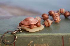 Original Clay Turtle Lanyard. Polymer Clay, Japanese Glass, Brass Turtle Lanyard. Rustic. Organic. Bohemian. Boho. Talisman. Totem Necklace.
