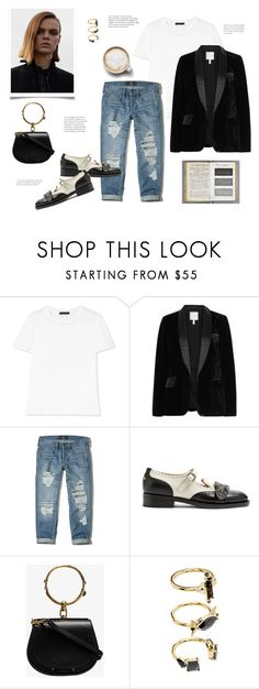 """""""T-Shirt"""" by barngirl ❤ liked on Polyvore featuring The Row, Joie, Hollister Co., Caffé, Gucci, Chloé and Noir Jewelry"""