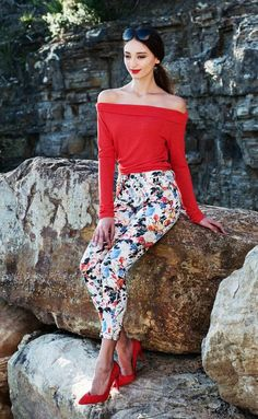 NEW high waist white floral pants size S & M available via Etsy