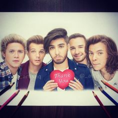 One Direction, drawn with colored pencils. All the best for the future Zayn! ❤️ @niazkilam