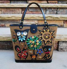 Vintage 1965 Enid Collins Collinsiana Kitty Owl Bird Sun Canvas Leather Handbag Purse  #EnidCollins