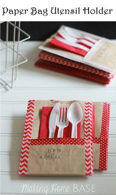Crafts and DIY Community: Paper Bag Utensil Holder | Crafts and DIY Community
