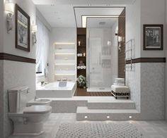 25 Modern Shower Designs and Glass Enclosures, Modern Bathroom Design Trends Interesting bath/shower combo with beautiful built in wall shelf in between. Small Basement Bathroom, Bathroom Floor Plans, Bathroom Layout, Bathroom Flooring, Bathroom Ideas, Bathroom Plumbing, Bathroom Wall, Bathroom Trends, Bathroom Vanities