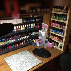 Madam Luck's nail art studio closeup. Set up the small shelving unit my husband helped me build..my stamping polishes are growing in size so this will work... For now.