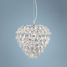 Clear crystal petals adorn this blooming chrome finish pendant light. high x wide. Canopy is 4 wide. Style # at Lamps Plus. Crystal Pendant Lighting, Candle Chandelier, Kitchen Pendant Lighting, Modern Pendant Light, Chandeliers, Decorating A New Home, Clinic Design, Clear Crystal, Light Up