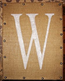 Burlap Monogram Canvas - I like the nail head trim.