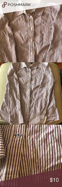 Purple/white striped dress shirt, Tommy Hilfiger Light purple and white dress shirt, button down, collared shirt Tommy Hilfiger. Like new. Small spot on bottom of shirt, see pic. Perfect for tucking into skirt or dress pants. Tommy Hilfiger Tops Button Down Shirts