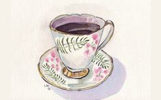 Items similar to Watercolor Painting - Teacup Art, Cup with Coffee Watercolor Art Print, on Etsy Tee Illustration, Cupcake Art, Cup Art, Coffee Art, Painting & Drawing, Food Drawing, Watercolor Paintings, Watercolours, Art Projects