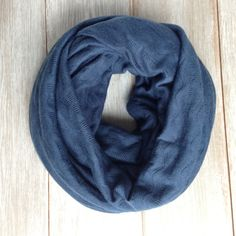 Soft and Cozy Navy Blue Sweater Knit Infinity Scarf by TheBlueDodo