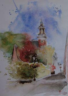 Lekkerkerk, schattig dorpje aan de rivier de Lek. Aquarel by Margo Pasman. visit margopasman.com