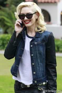gwen stefani leather jacket - 1950´s repro red lips blonde white shirt jeans