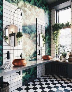 Trendy bathroom plants no sunlight small 56 Ideas Eclectic Bathroom, Boho Bathroom, Bathroom Interior, Bathroom Remodeling, Remodeling Ideas, Bathroom Ideas, Master Bathroom, Remodel Bathroom, Jungle Bathroom